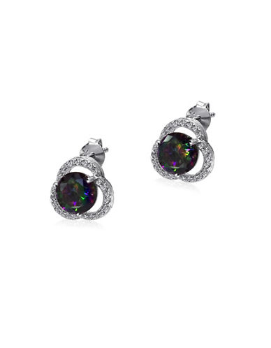 Expression Sterling Silver Cubic Zirconia and Rhodium-Plated Sterling Silver Stud Earrings-SILVER-One Size