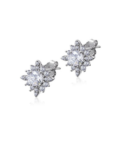 Expression Sterling Silver Crystal and Sterling Silver Flower-Shaped Stud Earrings-SILVER-One Size