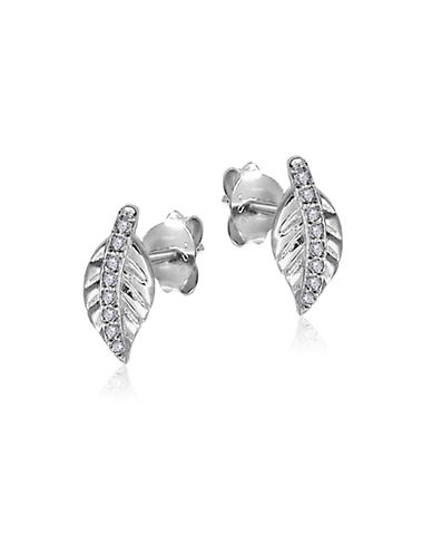 Expression Sterling Silver Crystal and Sterling Silver Leaves-Shaped Stud Earrings-SILVER-One Size