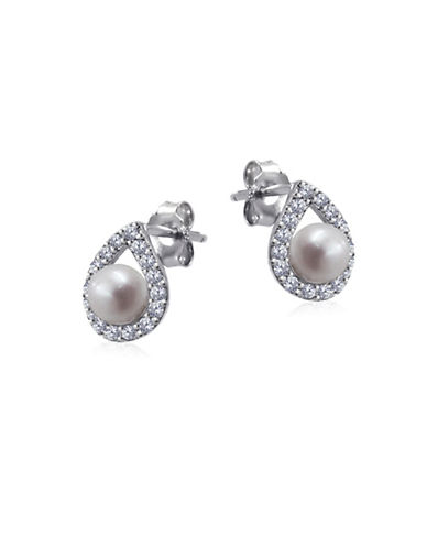Expression Sterling Silver Faux Pearl, Crystal and Sterling Silver Teardrop Stud Earrings-SILVER-One Size