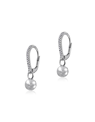 Expression Sterling Silver Crystal and Sterling Silver Dangling Ball Drop Earrings-SILVER-One Size