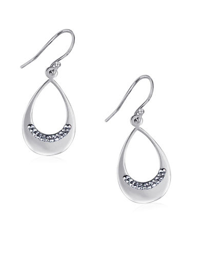 Expression Sterling Silver Crystal and Sterling Silver Oval Drop Earrings-SILVER-One Size