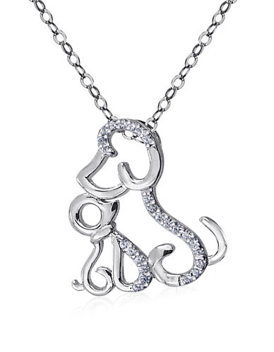 Expression Sterling Silver Crystal and Sterling Silver Puppy Pendant Necklace-SILVER-One Size