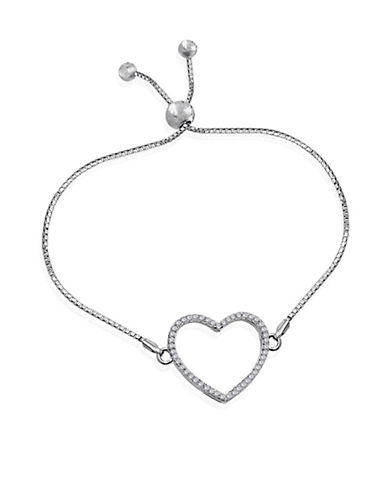 Expression Sterling Silver Crystal and Sterling Silver Heart Shape Bracelet-SILVER-One Size