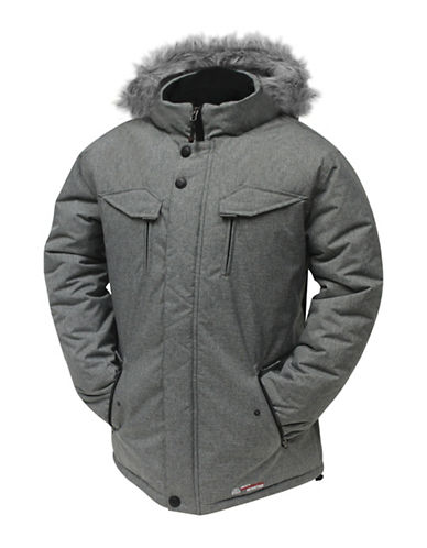 Misty Mountain Quasar Insulated Faux Fur-Trim Jacket-GREY-Large