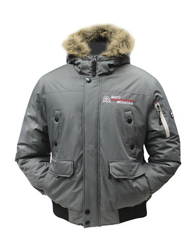 Misty Mountain Crossfire Insulated Faux Fur-Trim Jacket-GREY-Medium