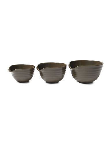 Ricardo Three-Piece Stoneware Mixing Bowls-BROWN-3pc