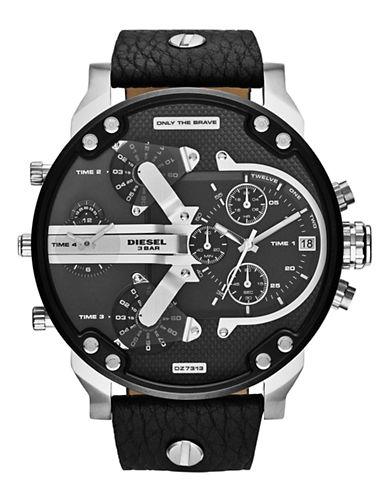 Diesel Mens DZ7313 Leather Watch-BLACK-One Size
