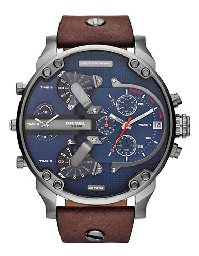 Diesel Mens DZ7314 Leather Watch-BROWN-One Size