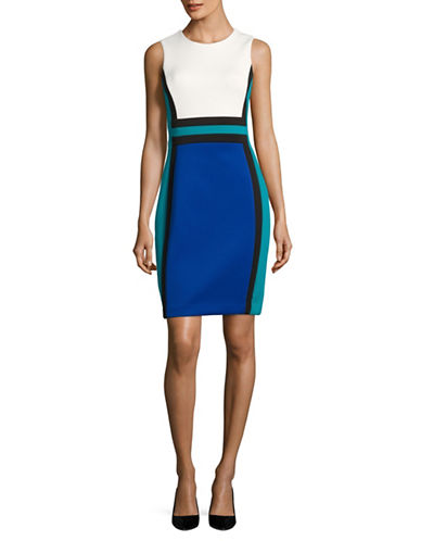 Calvin Klein Scuba Block Sheath Dress-MULTI-12