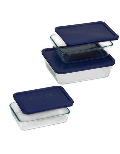 Pyrex Storage Plus 6 Piece Set-BLUE/CLEAR-One Size