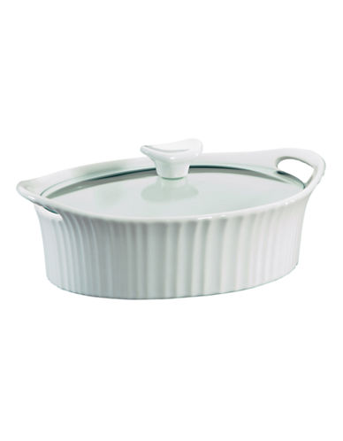 Corningware Oval 1.5-Quart Casserole Dish With Cover-WHITE-1.5qt