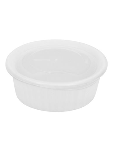 Corningware French White 16oz Dish with Plastic Cover-WHITE-16