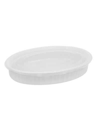 Corningware French White 27oz dish with Plastic Cover-WHITE-One Size