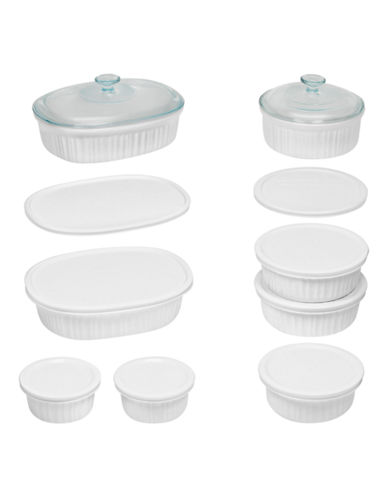 Corningware Fluted 18-Piece Bakeware Set-WHITE-18pc
