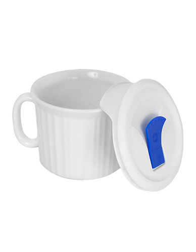 Corningware French White 22oz Mug With Vented Plastic Cover-FRENCH WHITE-One Size
