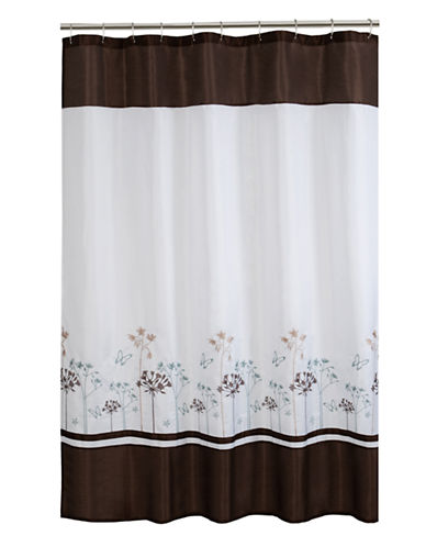 Maytex Floral Embroidered Shower Curtain-CHOCOLATE-One Size