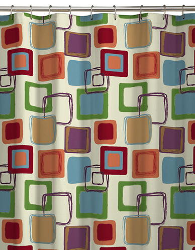 Maytex Square-Pattern Shower Curtain-RED-One Size