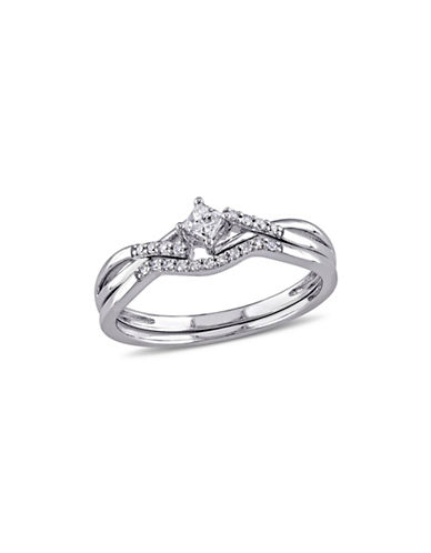 Concerto 0.20 TCW Diamond and Sterling Silver Crossover Bridal Ring-WHITE-5