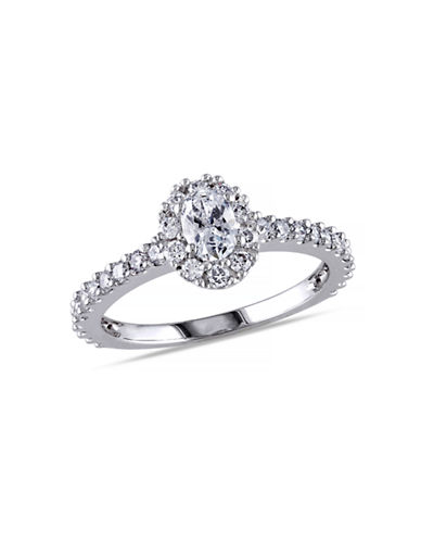 Concerto 14K White Gold Oval and Round Diamonds 1 Total Carat Weight Engagement Ring-DIAMOND-6