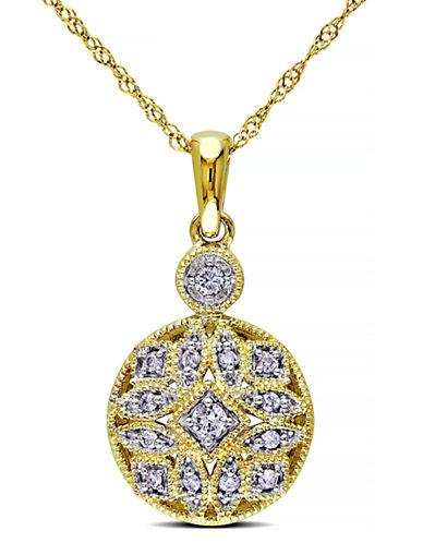 Concerto .125 CT  Diamond TW Fashion Pendant With 14k Yellow Gold Chain-DIAMOND-One Size