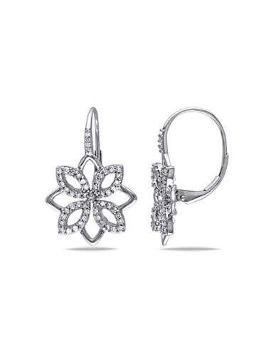 Concerto .5 CT  Diamond TW 14k White Gold Leverback Earrings-DIAMOND-One Size