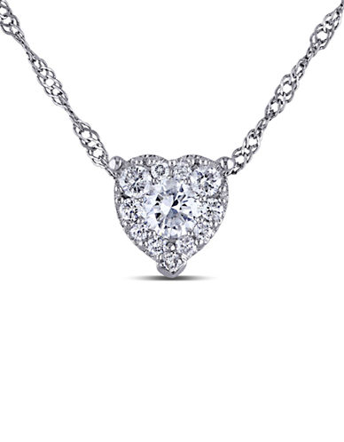 Concerto .25 CT  Diamond TW Heart Pendant With 14k White Gold Chain-DIAMOND-One Size