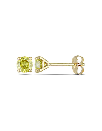 Concerto .5ct TDW Yellow Diamond 14KY Martini Style 4-Prong Solitaire Earrings-YELLOW-One Size