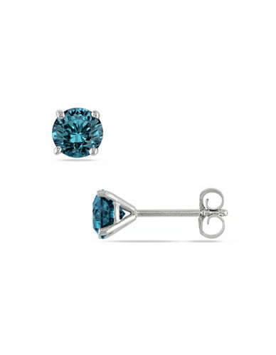 Concerto 14KW 1ct TDW Treated Blue Diamond Martini Style 4-Prong Solitaire Earrings-BLUE-One Size