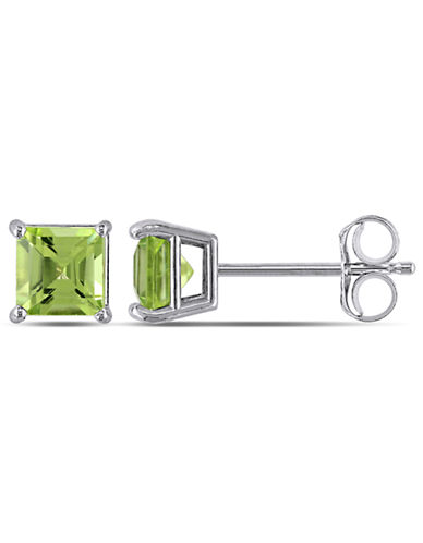 Concerto 14KW .625ct TGW 4 by 4mm Square Peridot Earrings-GREEN-One Size