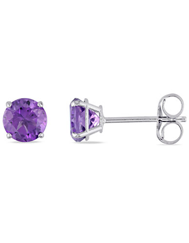 Concerto .8 CT TGW Amethyst Ear Pin 14k White Gold Earrings-PURPLE-One Size