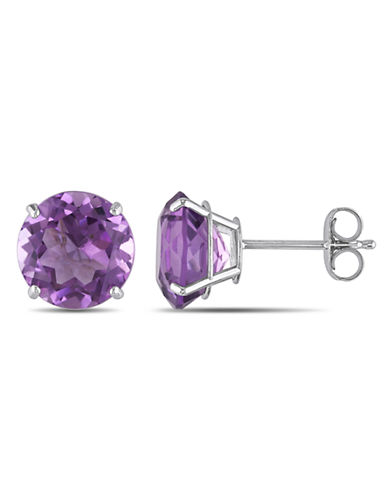 Concerto 14KW 3.25ct TGW 8mm Round Amethyst Basket 4-Prong Solitaire Earrings-PURPLE-One Size