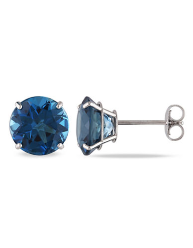 Concerto 14KW 5ct TGW 8mm Round London Blue Topaz Basket 4-Prong Solitaire Earrings-BLUE-One Size