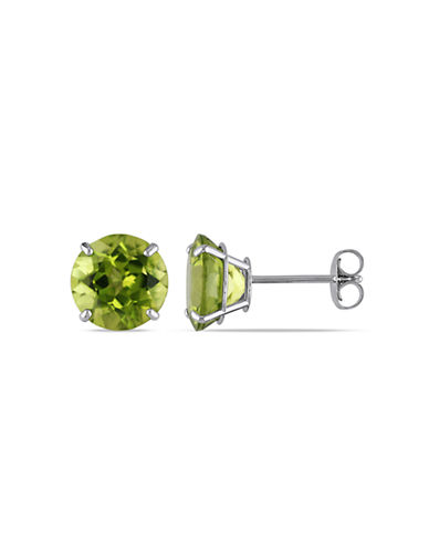 Concerto 14KW 4ct TGW 8mm Round Peridot Basket 4-Prong Solitaire Earrings-GREEN-One Size