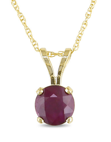 Concerto 14KY 1ct TGW 6mm Round Ruby 4-Prong Solitaire Pendant with Chain-RUBY-One Size