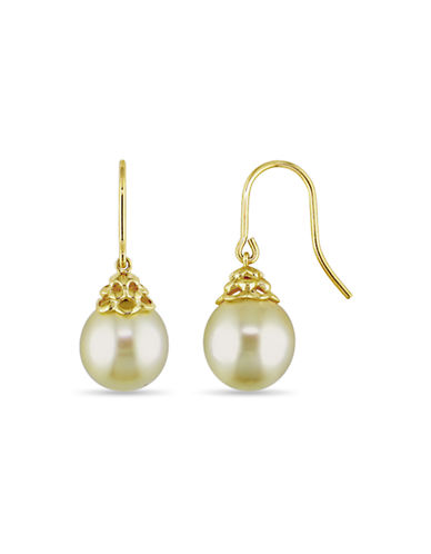 Concerto 14K Yellow Gold 10-11mm Drop Yellow South Sea Pearl Hook Earrings-PEARL-One Size