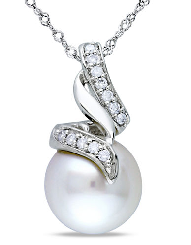 Concerto .1 CT  Diamond TW and 9.5 - 10 MM White South Sea Pearl Fashion Pendant With 14k White Gold Chain-PEARL-One Size