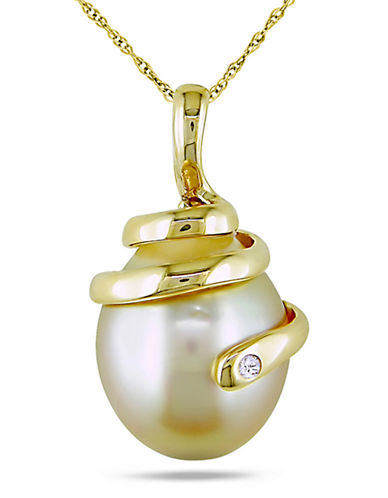 Concerto 0.01 CT  Diamond TW 10 - 10.5 MM Golden South Sea Pearl 14k Yellow Gold Fashion Pendant-PEARL-One Size