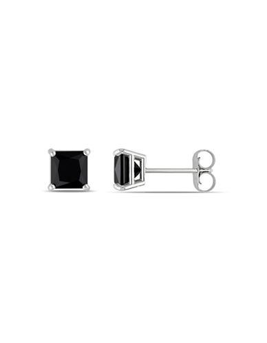 Concerto 1.5 CT Black Princess Diamond TW 14k White Gold Stud Earrings-BLACK-One Size