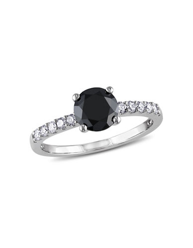 Concerto 1.25CT Black and White  Diamond TW 14k White Gold Engagement Ring-BLACK-6