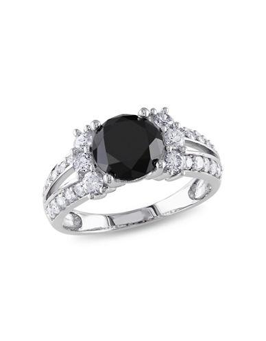 Concerto 2.625 CT Black and White Diamond TW 14k White Gold Fashion Ring-BLACK-7