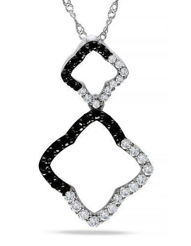 Concerto .5 CT Black and White  Diamond TW Fashion Pendant With 14k White Gold Chain-BLACK-One Size