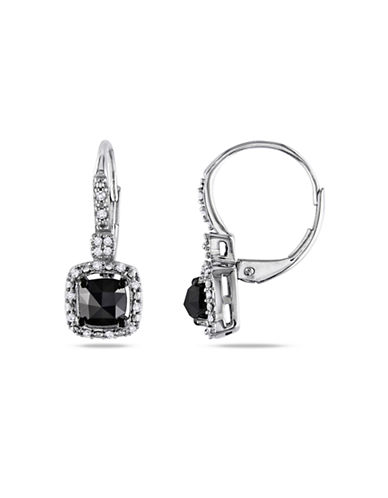 Concerto 1 CT Black and White Cushion and Round Diamonds TW  14k White Gold Leverback Earrings-BLACK DIAMOND-One Size