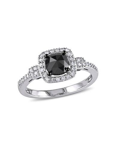 Concerto 1 CT Black and White Cushion and Round Diamonds TW 14k White Gold Fashion Ring-BLACK-6