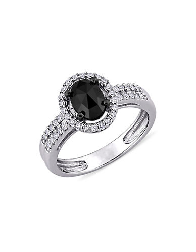 Concerto 1 CT Black and White Oval and Round Diamonds TW  14k White Gold Fashion Ring-BLACK DIAMOND-7
