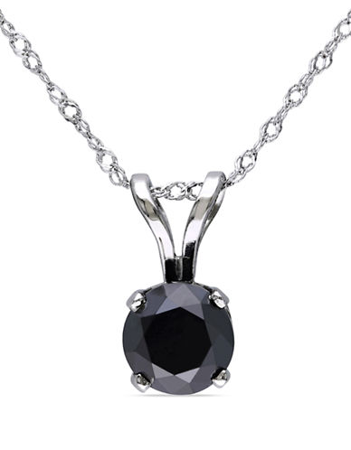Concerto 1 CT Black Diamond TW Solitaire Pendant With 14k White Gold Chain-BLACK-One Size