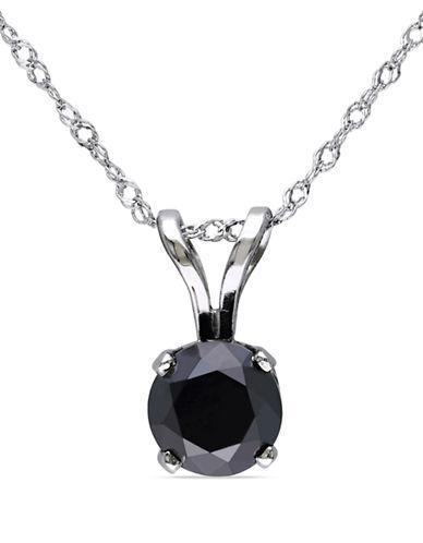 Concerto 1 CT Black Diamond TW Solitaire Pendant With 14k White Gold Chain-BLACK-One Size