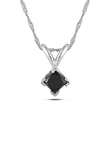 Concerto .5 CT Black Princess Diamond TW Solitaire Pendant With 14k White Gold Chain-BLACK-One Size