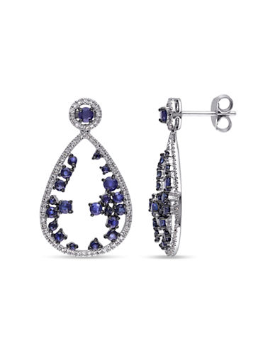 Concerto 14KW 0.40ct TDW and 2ct TGW Sapphire Earrings-BLUE-One Size