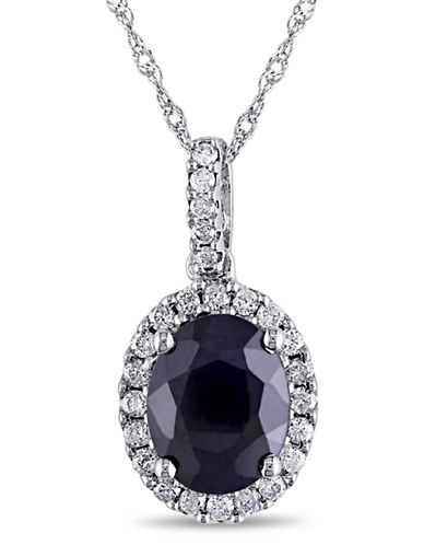 Concerto .25 CT Diamond TW and Diffused Sapphire Fashion Pendant With 14k White Gold Chain-BLUE-One Size